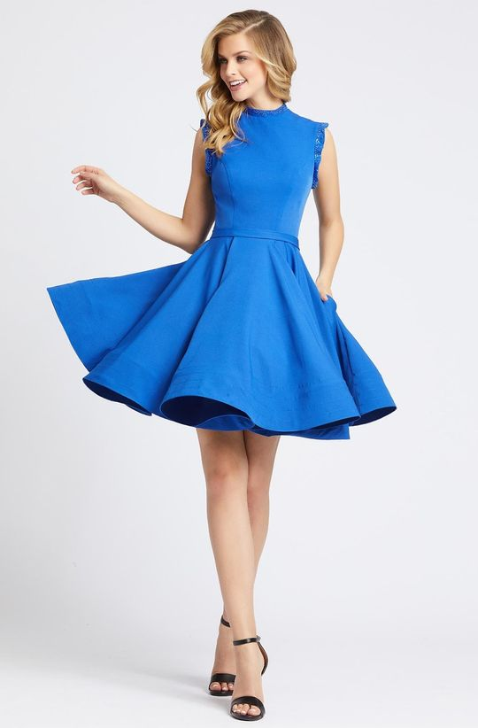 IEENA DUGGAL - KEYHOLE BACK FIT AND FLARE DRESS 48772ISC