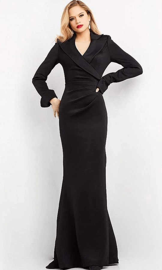 Collared Long Evening Gown